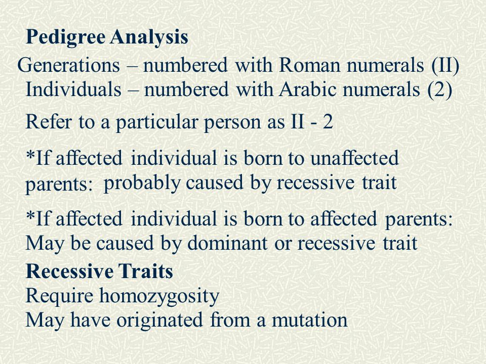 Pedigree Analysis Generations – numbered with Roman numerals (II) Individuals – numbered with Arabic numerals (2)