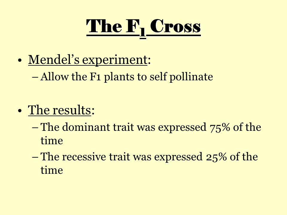 The F1 Cross Mendel's experiment: The results: