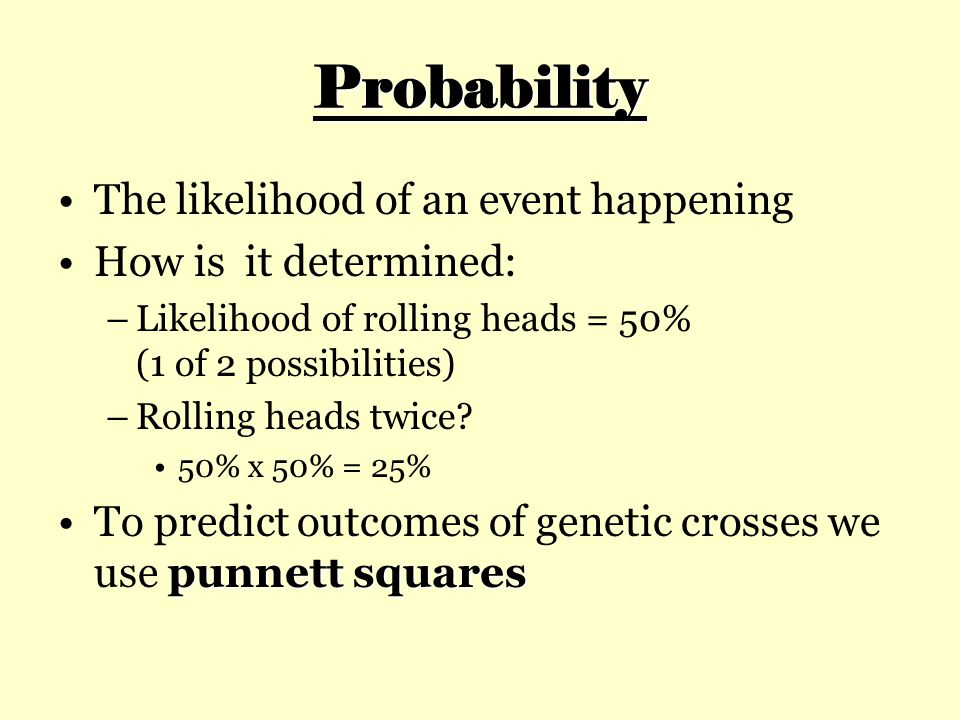 Probability The likelihood of an event happening How is it determined:
