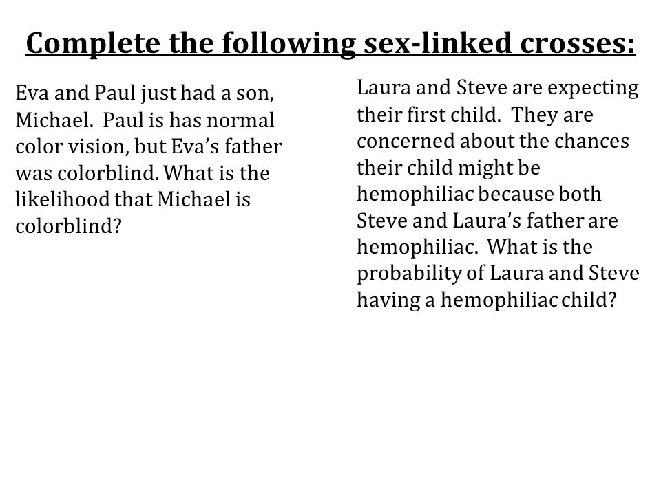 Complete the following sex-linked crosses: