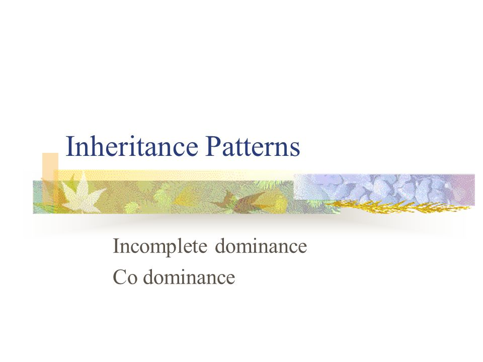 Incomplete dominance Co dominance
