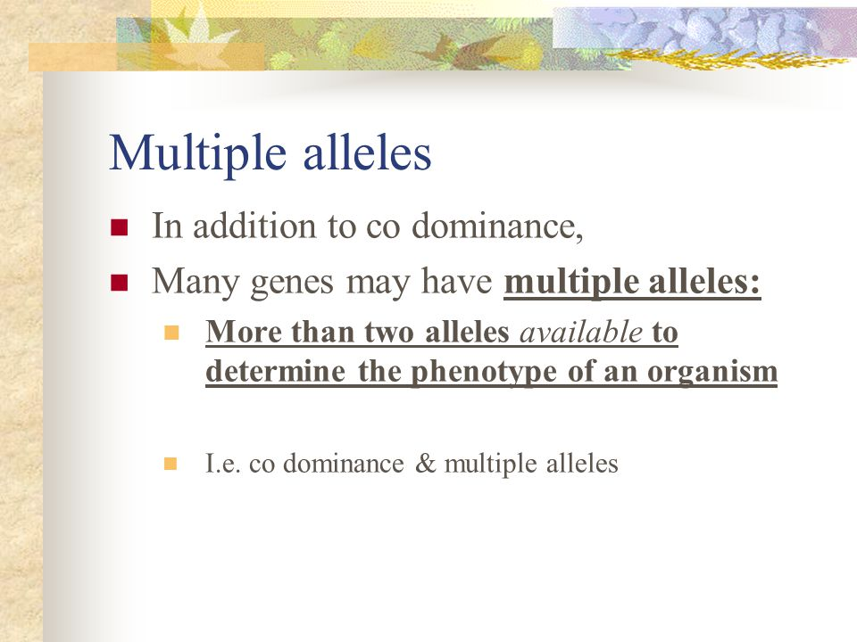 Multiple alleles In addition to co dominance,