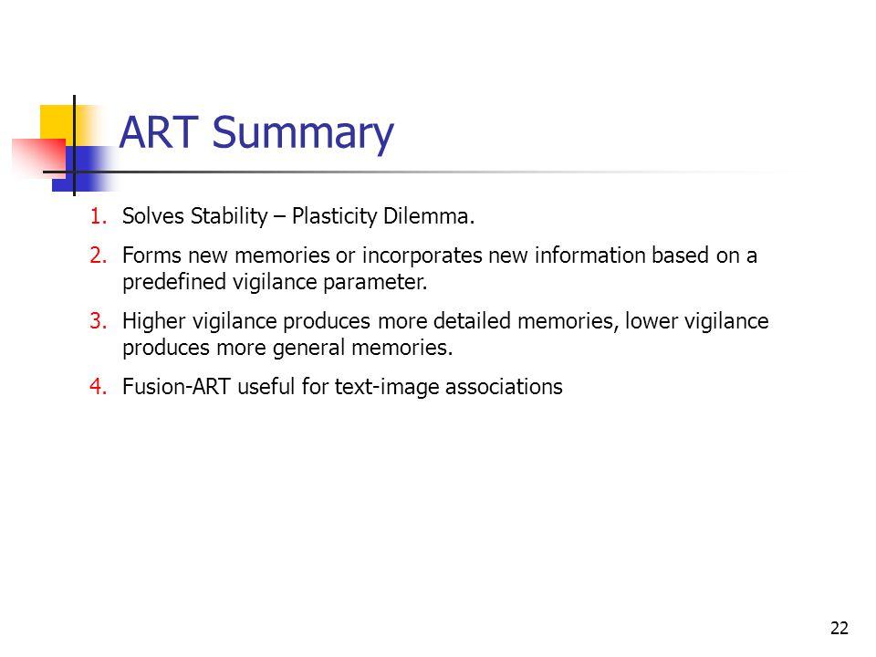 ART Summary Solves Stability – Plasticity Dilemma.