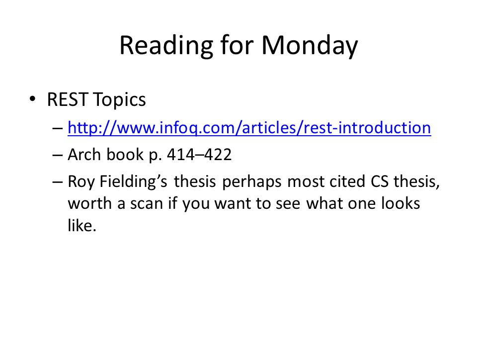 Reading for Monday REST Topics