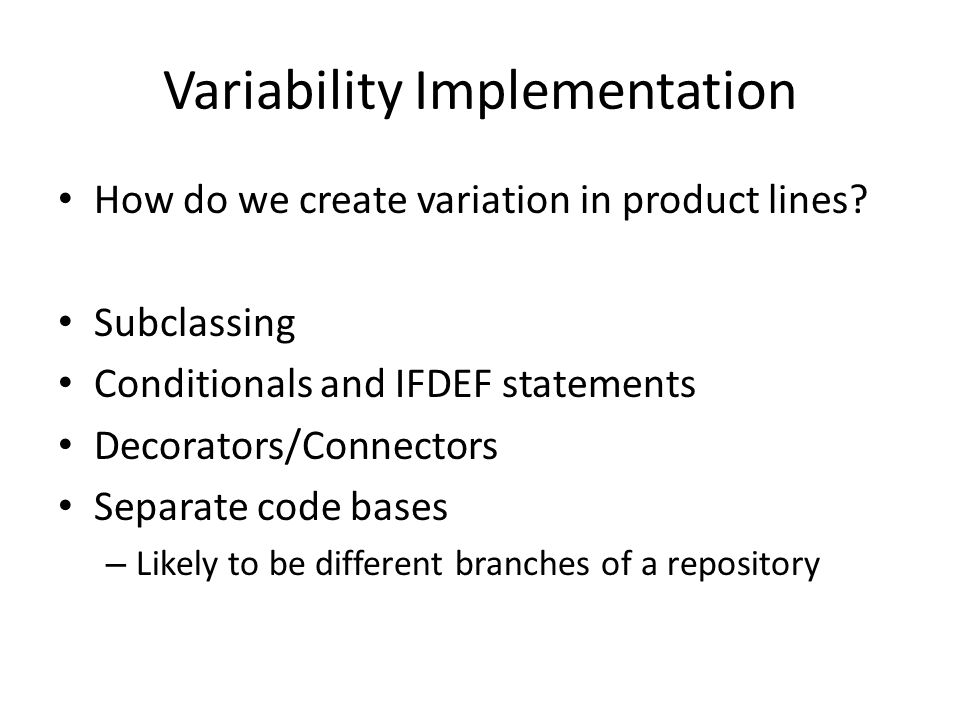 Variability Implementation