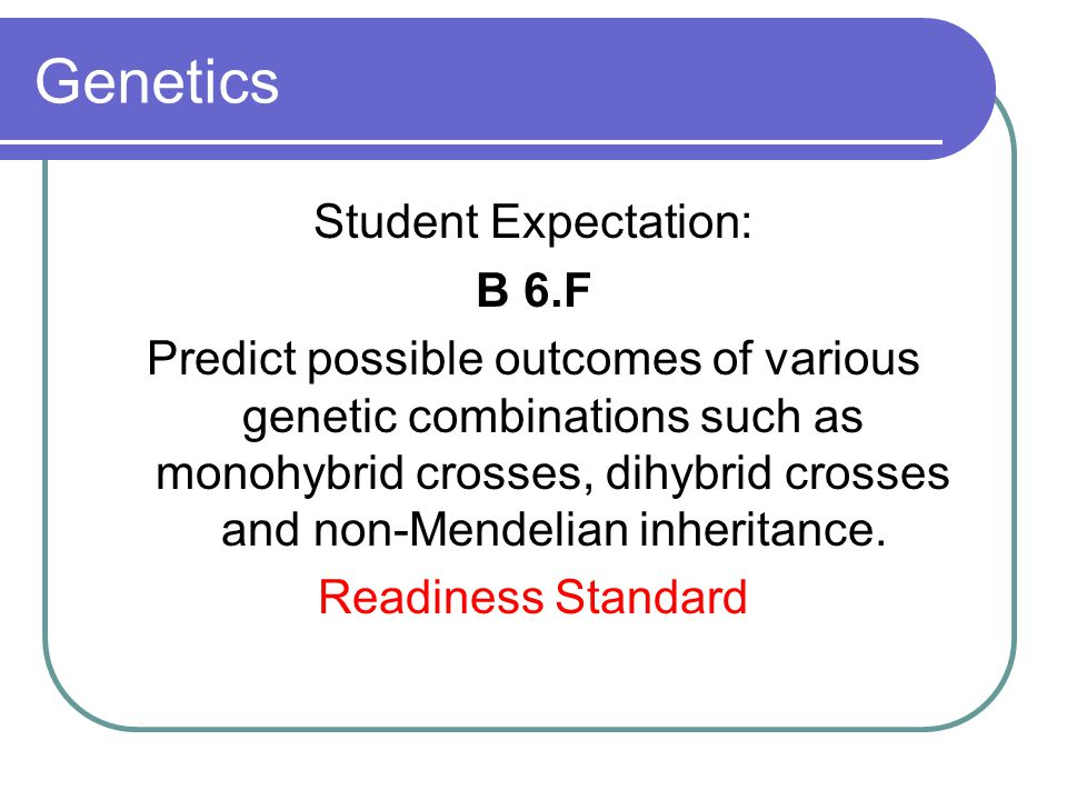 Genetics Student Expectation: B 6.F