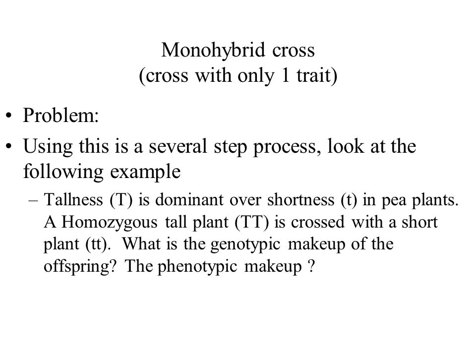 Monohybrid cross (cross with only 1 trait)