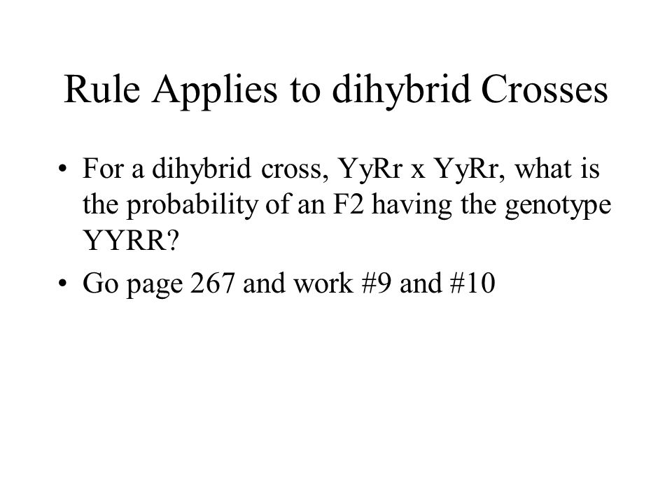 Rule Applies to dihybrid Crosses