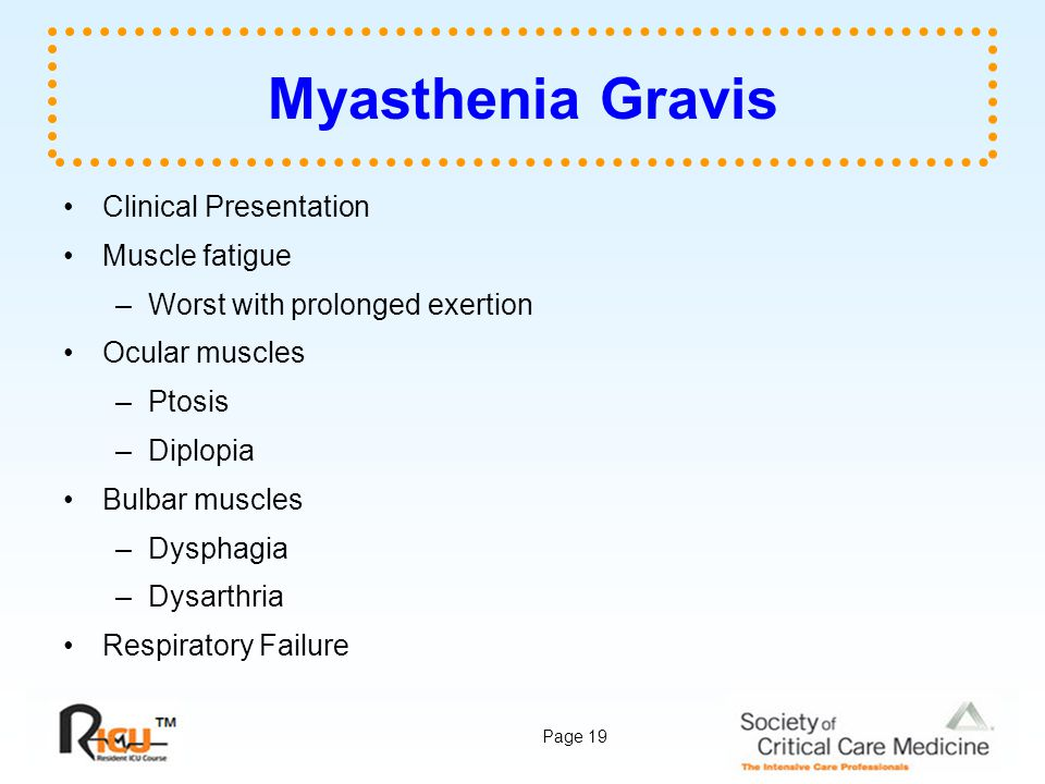 Myasthenia Gravis Clinical Presentation Muscle fatigue