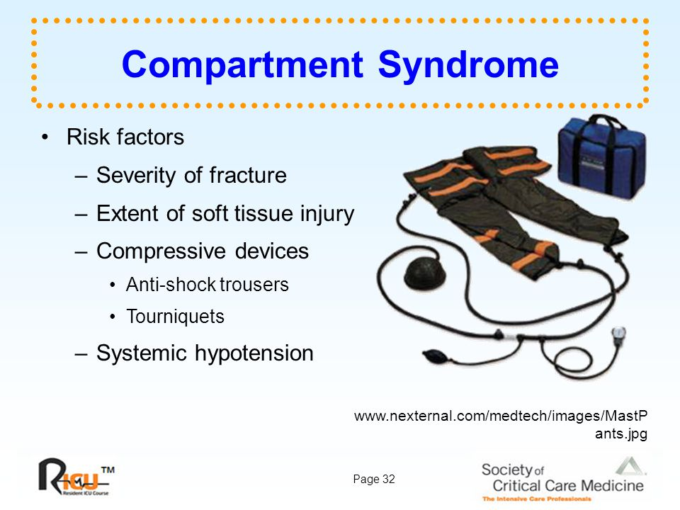 Compartment Syndrome Risk factors Severity of fracture