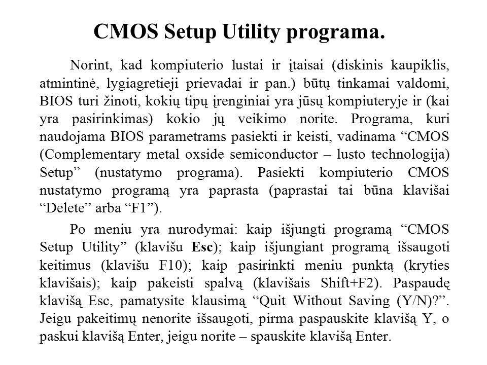 CMOS Setup Utility programa.