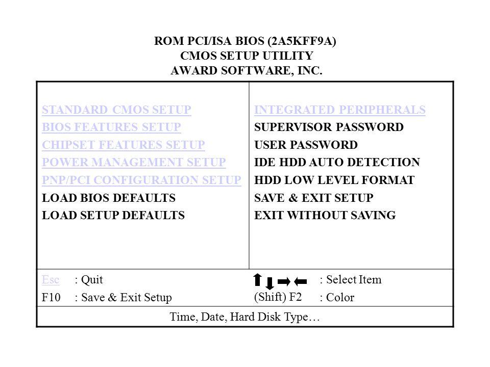 ROM PCI/ISA BIOS (2A5KFF9A) CMOS SETUP UTILITY AWARD SOFTWARE, INC.