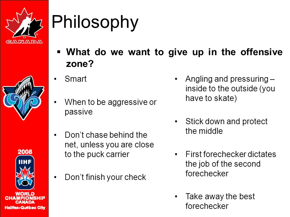 Philosophy What do we want to give up in the offensive zone Smart