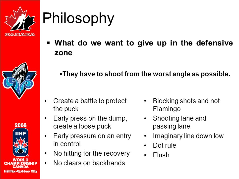 Philosophy What do we want to give up in the defensive zone