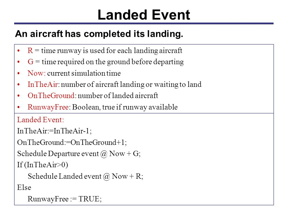 Landed Event An aircraft has completed its landing.