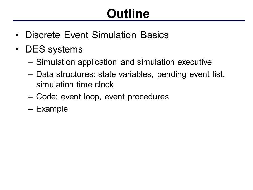Outline Discrete Event Simulation Basics DES systems