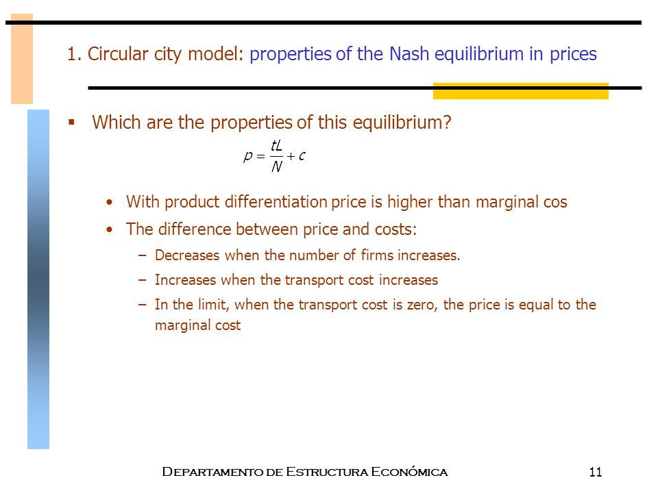 1. Circular city model: properties of the Nash equilibrium in prices