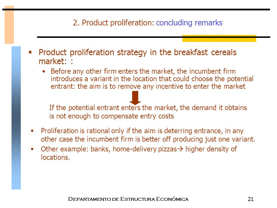 2. Product proliferation: concluding remarks