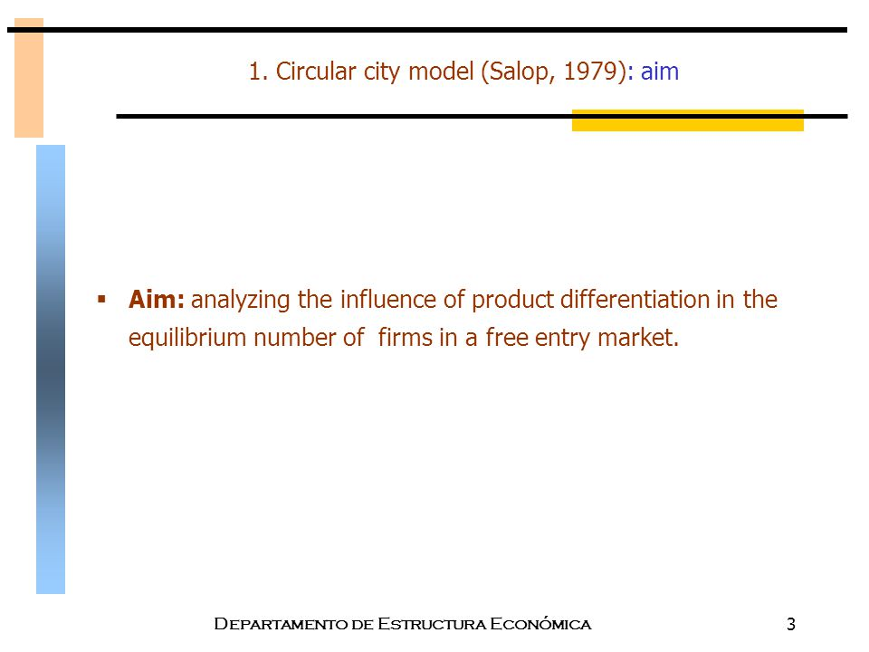 1. Circular city model (Salop, 1979): aim