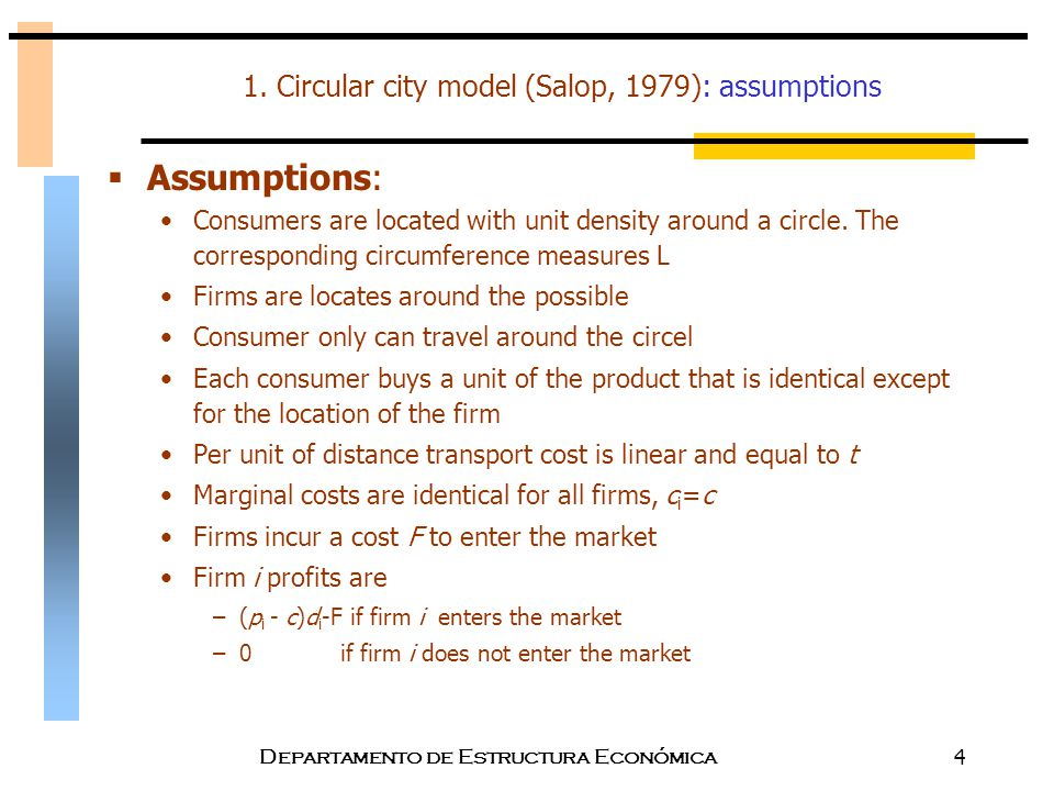 1. Circular city model (Salop, 1979): assumptions