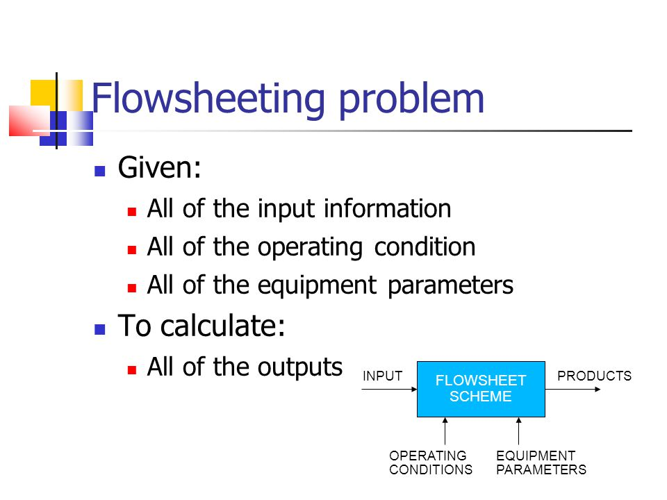 Flowsheeting problem Given: To calculate: All of the input information