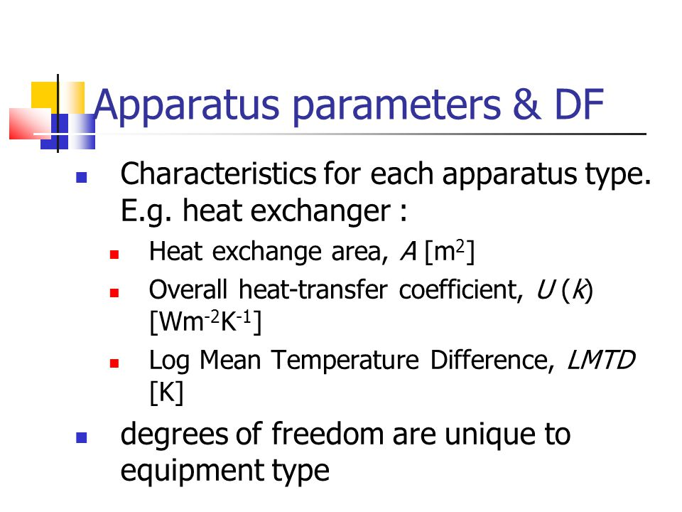 Apparatus parameters & DF