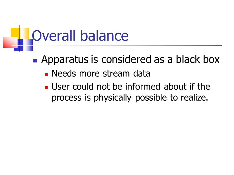 Overall balance Apparatus is considered as a black box