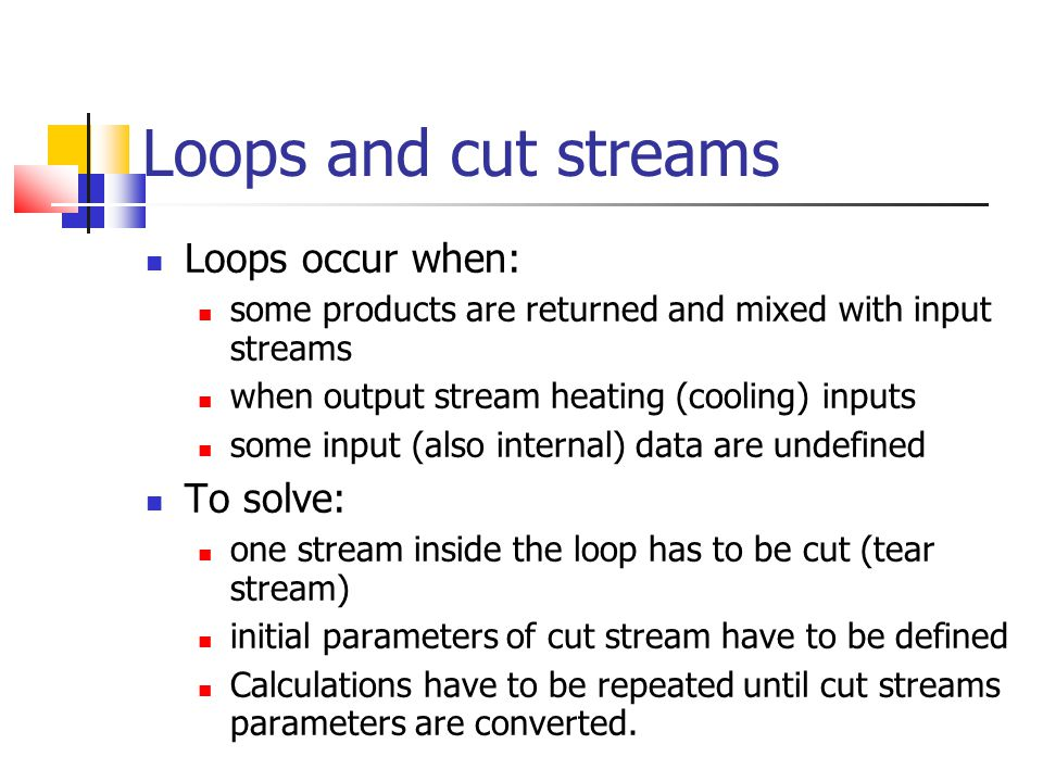 Loops and cut streams Loops occur when: To solve: