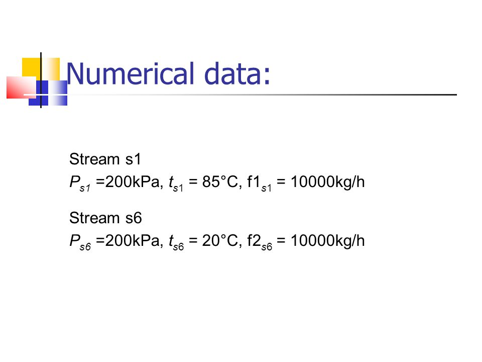 Numerical data: Stream s1 Ps1 =200kPa, ts1 = 85°C, f1s1 = 10000kg/h