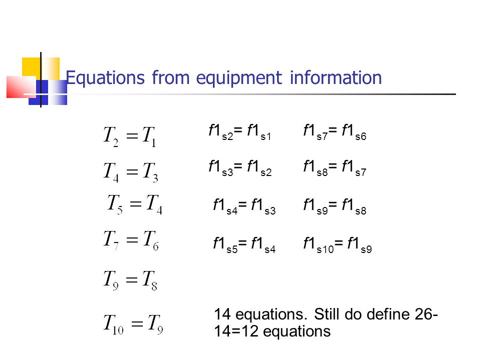 Equations from equipment information