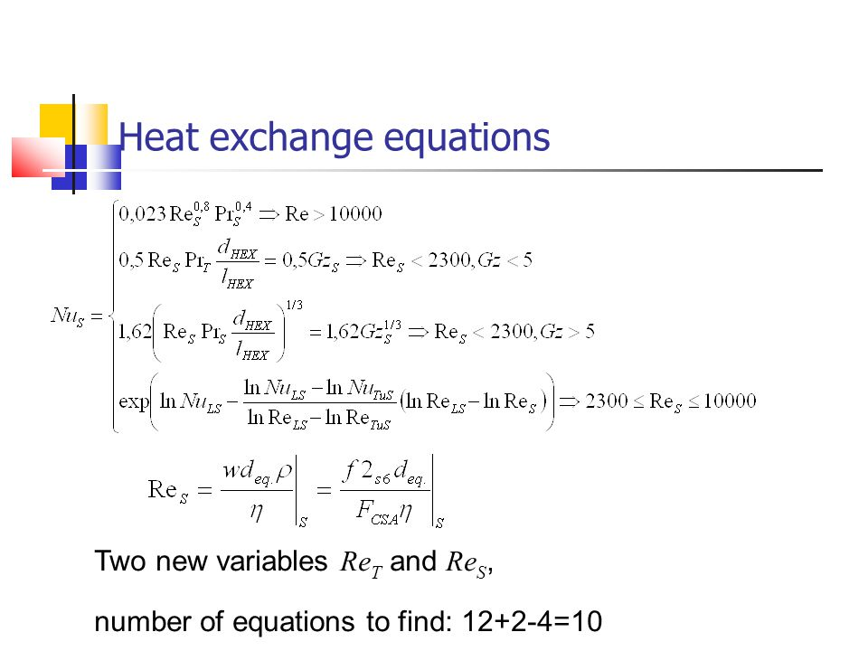 Heat exchange equations