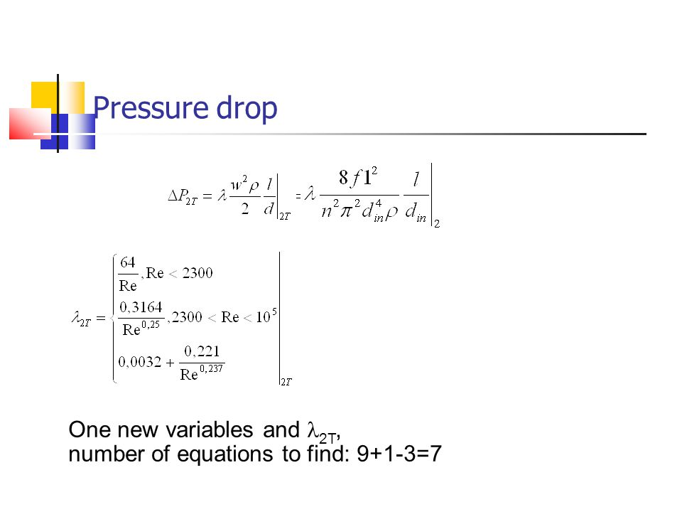 Pressure drop One new variables and l2T,