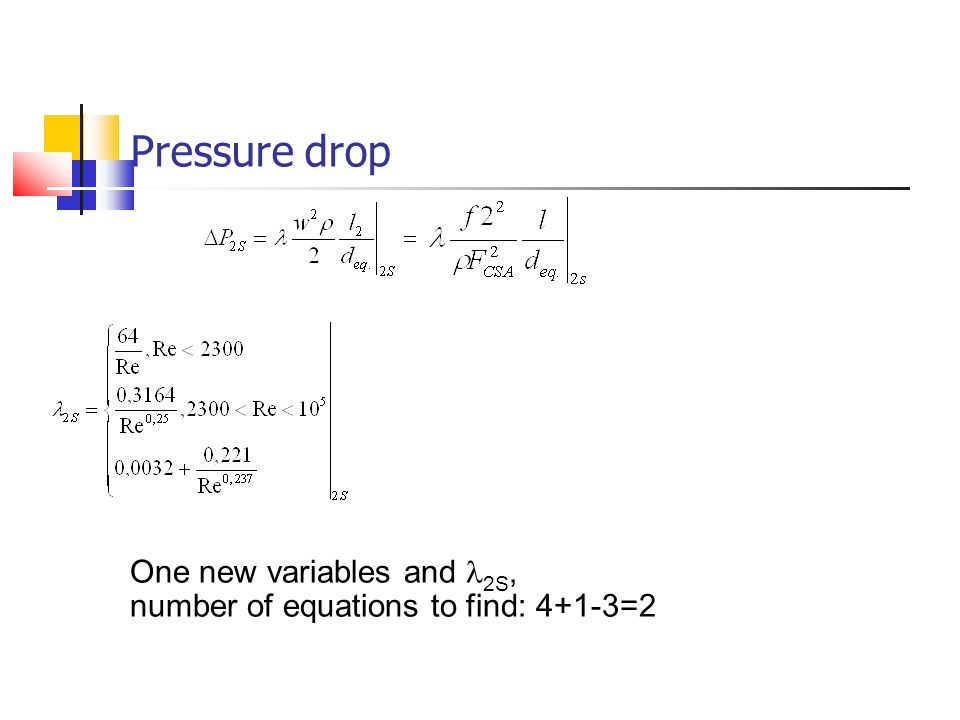 Pressure drop One new variables and l2S,
