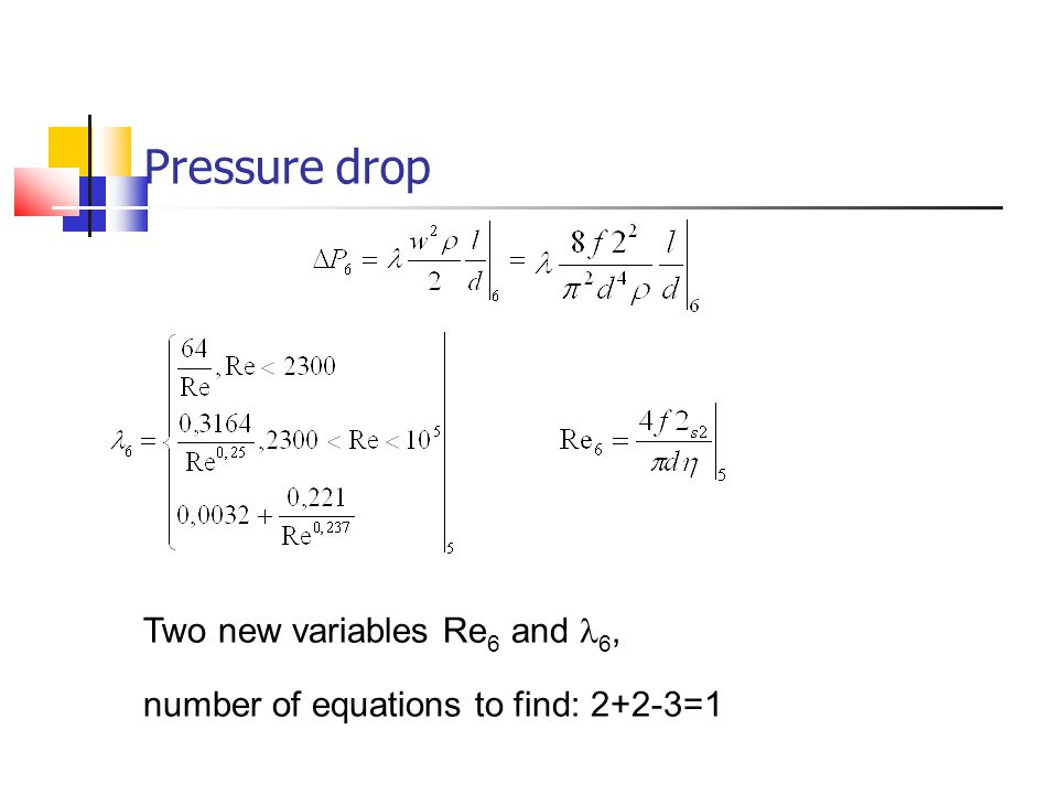 Pressure drop Two new variables Re6 and l6,