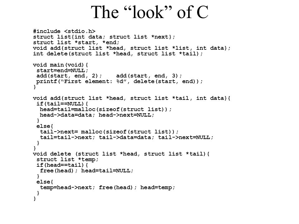 The look of C #include <stdio.h>