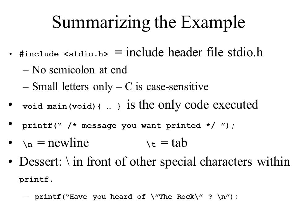 Summarizing the Example