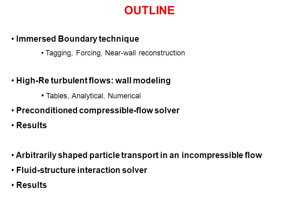 OUTLINE Immersed Boundary technique