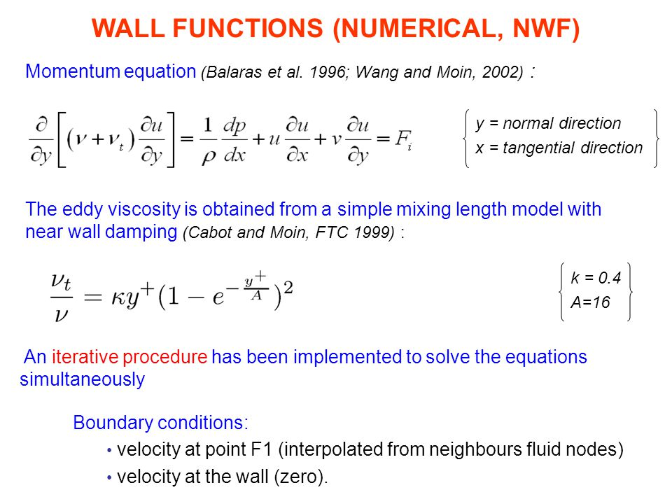 WALL FUNCTIONS (NUMERICAL, NWF)