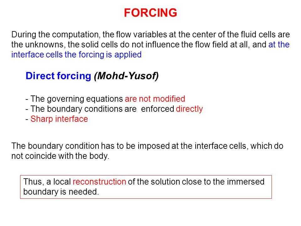 FORCING Direct forcing (Mohd-Yusof)