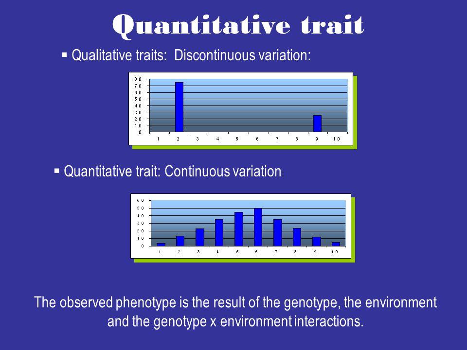 Quantitative trait Qualitative traits: Discontinuous variation: