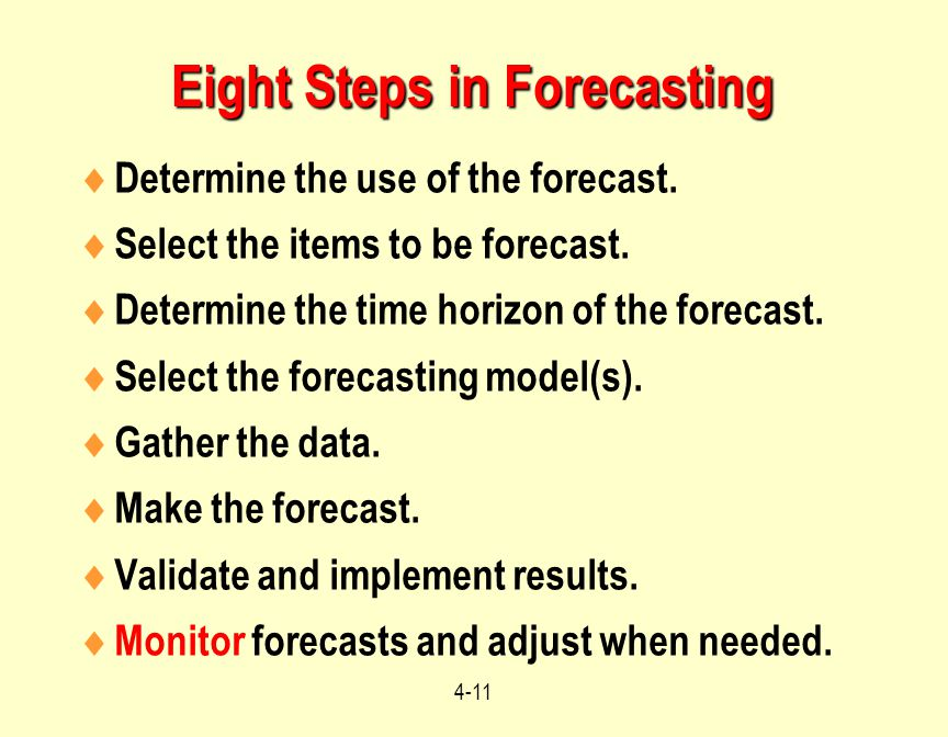 Eight Steps in Forecasting