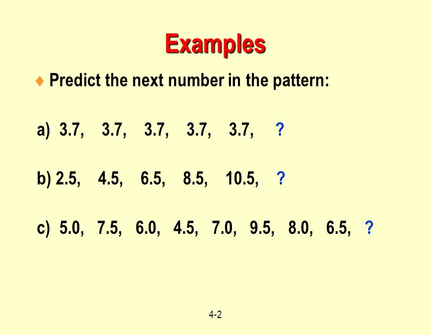 Examples Predict the next number in the pattern: