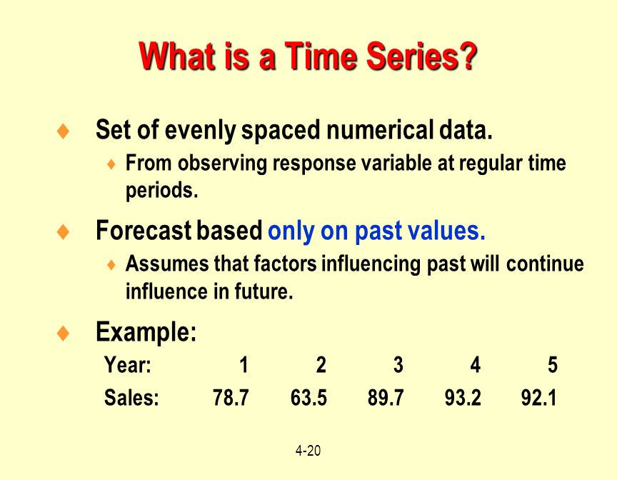 What is a Time Series Set of evenly spaced numerical data.