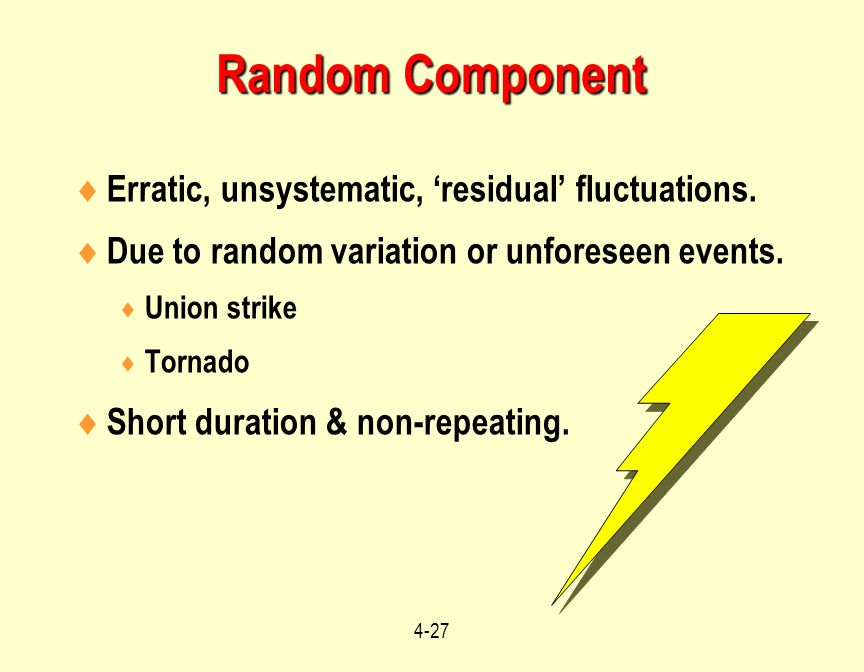 Random Component Erratic, unsystematic, 'residual' fluctuations.