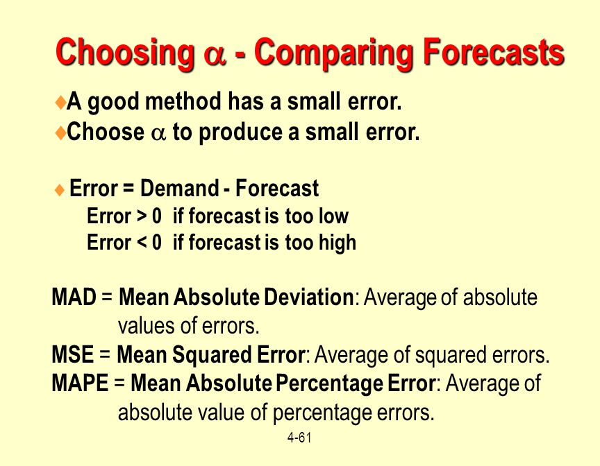 Choosing  - Comparing Forecasts