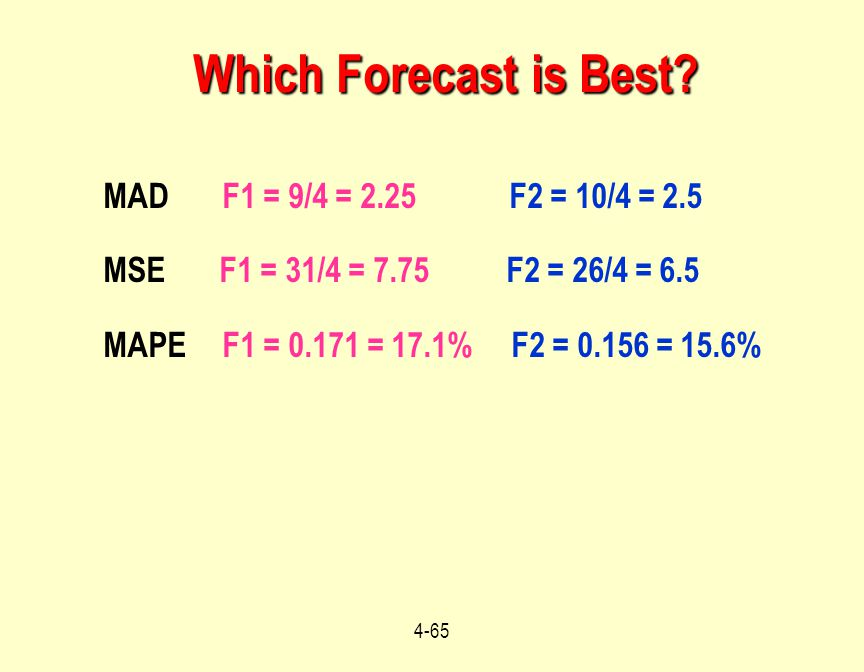 Which Forecast is Best MAD F1 = 9/4 = 2.25 F2 = 10/4 = 2.5