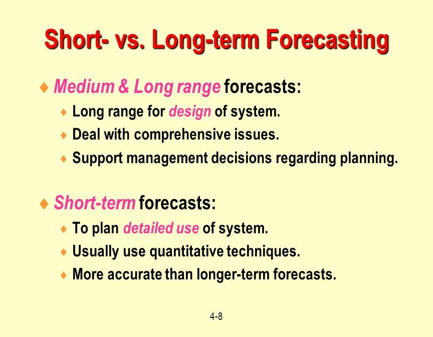 Short- vs. Long-term Forecasting