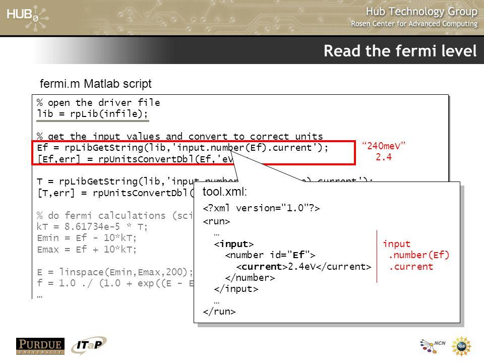 Read the fermi level fermi.m Matlab script tool.xml: