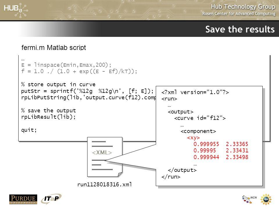 Save the results fermi.m Matlab script … E = linspace(Emin,Emax,200);
