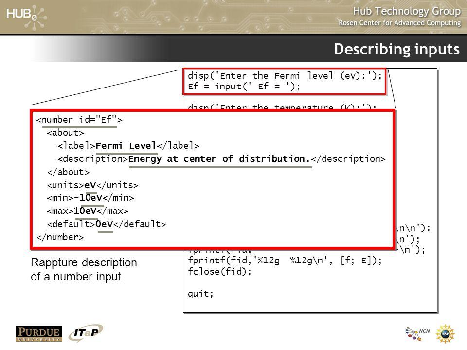 Describing inputs Rappture description of a number input